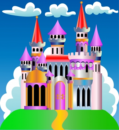 illustration beautiful and reliable fortress on hill on background cloud Vector