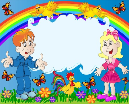 activity exercising: illustration lucky children on background of the rainbow