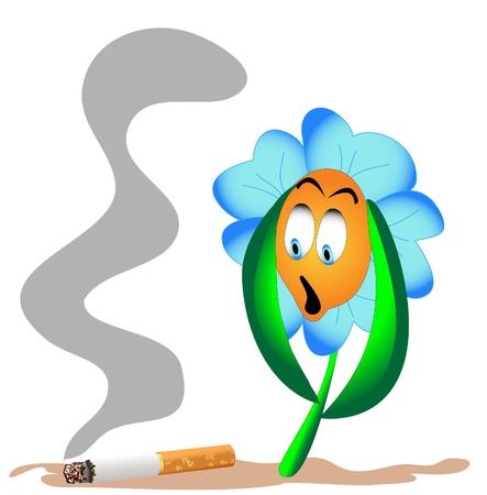 dread: illustration flower from beside lying cigarette dread Illustration