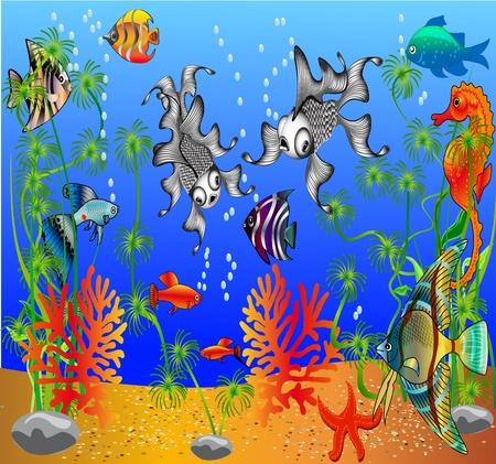 Illustration du poisson et des algues sous l'eau