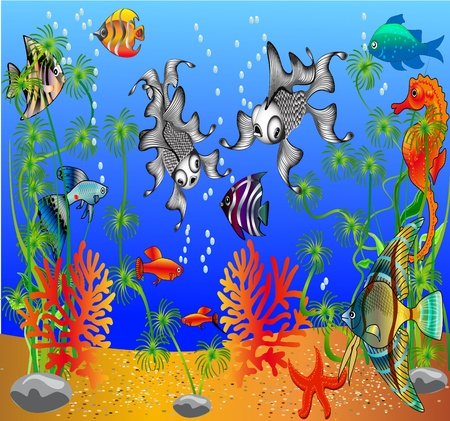 illustration of the fish and algaes under water Stock Vector - 9790224