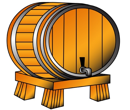 pervaded: The Barrel with wine or beer on tray, is insulated on white.