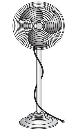 fiambres: El ventilador el�ctrico de refresco del aire, aislado sobre fondo blanco. Vectores
