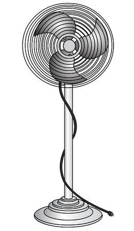 salumi affettati: The Electric ventilator for refreshment of the air, insulated on white background.