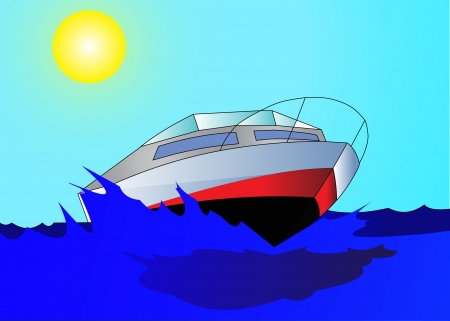 daydream: Journey on quick, comfortable motorboat on epidemic deathes.  Illustration