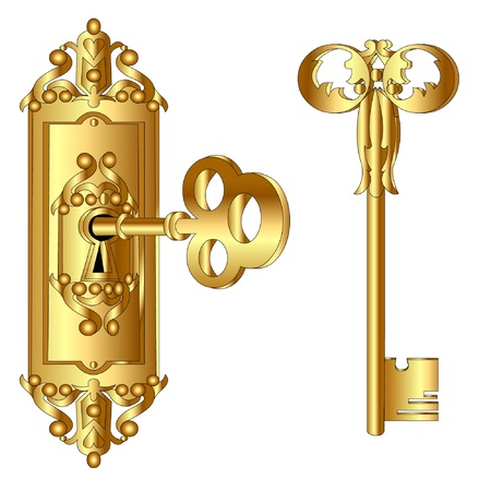 The Old time lock with key, insulated on white background. Stock Vector - 9917688