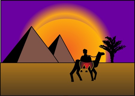 on background of the pyramids and sundown sun.