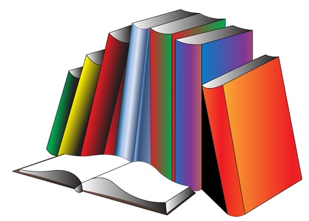 Openning book and pile of the books, is insulated on white. Stock Vector - 9917563