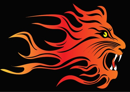 illustration infuriated lion in fire on black Vector