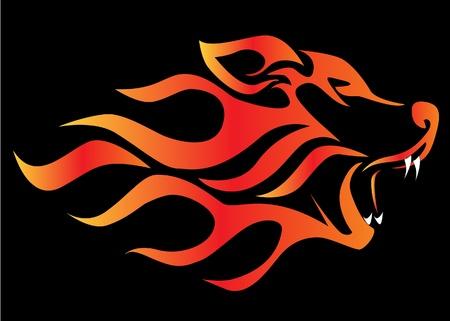 pagan: Loup de profil illustration sur le feu noir