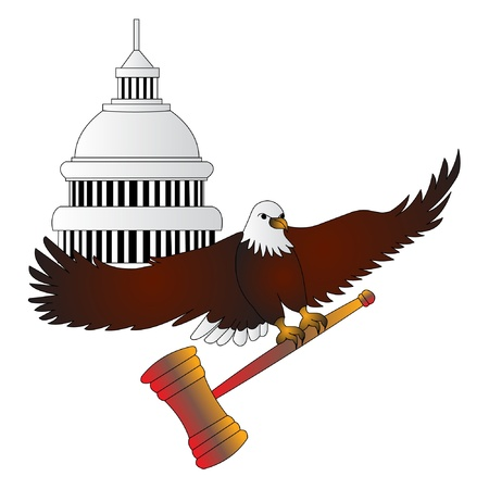 legality: The Symbols to legality beside white house Illustration