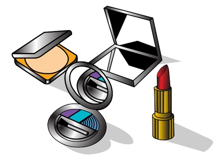 pomade:  The Subjects of the make  up, insulated on white background. Illustration