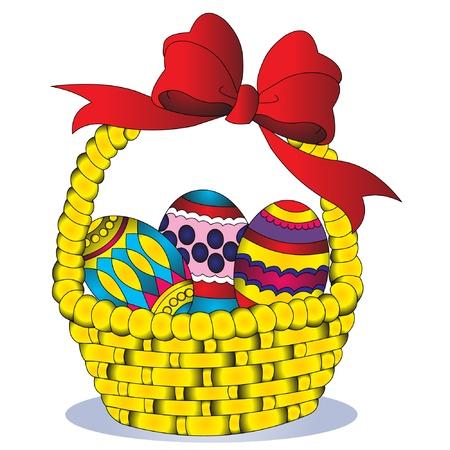 gift basket: illustration basket with egg and bow Illustration