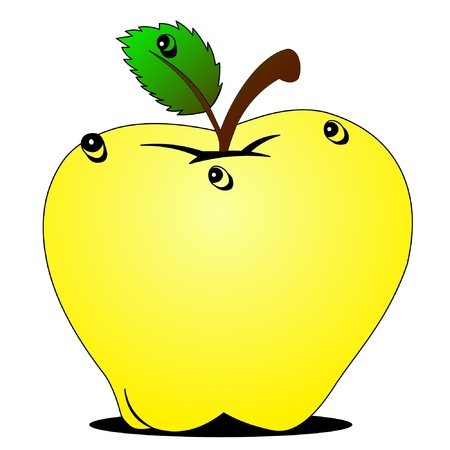 illustration wanted apple with dewdrop on white Stock Vector - 9917415