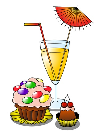 illustration cocktail with umbrella and fruit cake
