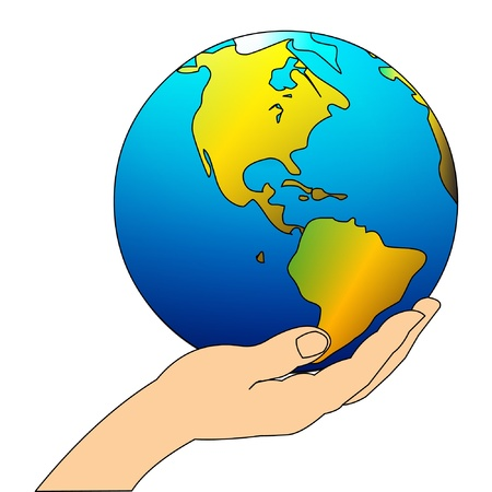 hands holding earth: illustration feminine hand carefully keeps globe