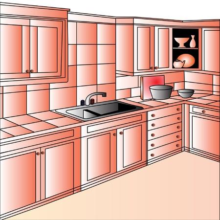 armarios: muebles de ilustraci�n sobre cocina por conjunto moderno Vectores