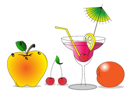 tropical drink: frutas de ilustraci�n y c�ctel alcoh�lica son aislados