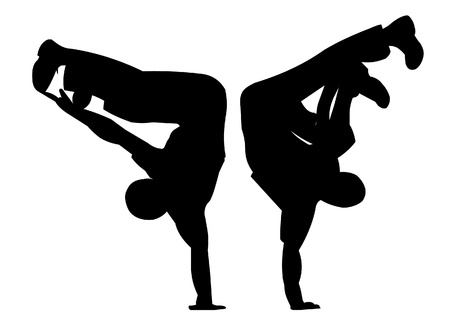illustration two silhouettes in dance and sport Stock Vector - 9917565