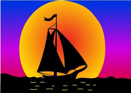 illustration silhouette sail on sundown sun Vector Illustratie