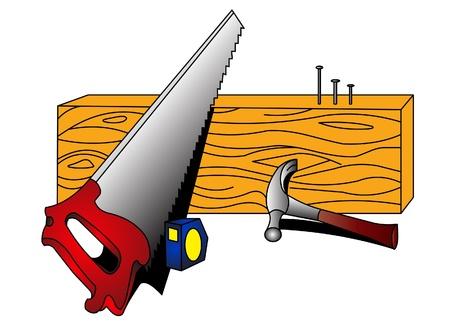 Zaag, hamer, spijker, boom, passer op witte achtergrond.