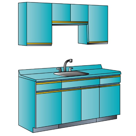 Furniture for interior of the kitchens of the blue colour. Vector