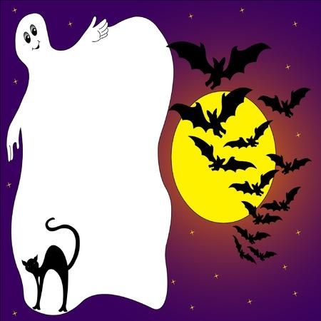 gatto e illustrazione telaio spettro bat