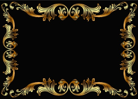 rococo style: illustration background frame with vegetable gold(en) pattern