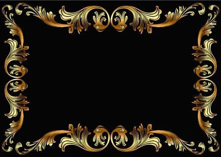 rococo: illustration background frame with vegetable gold(en) pattern