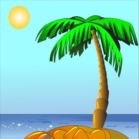 illustration palm on island sun and sea Vector