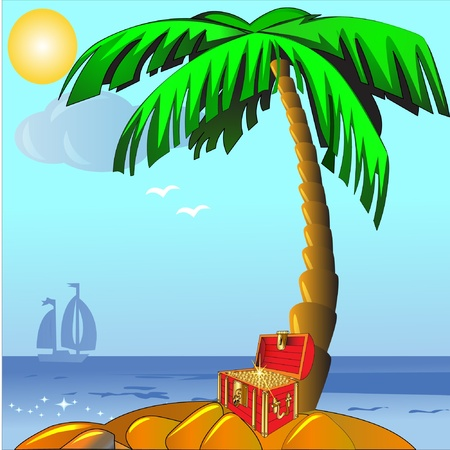 illustration island with palm and coffer with gold(en) Stock Vector - 9917690