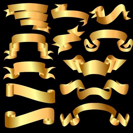 illustration set gold(en) meanderring tapes on black background Vector