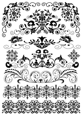 baroque style: illustration set symmetrical black pattern is insulated Illustration