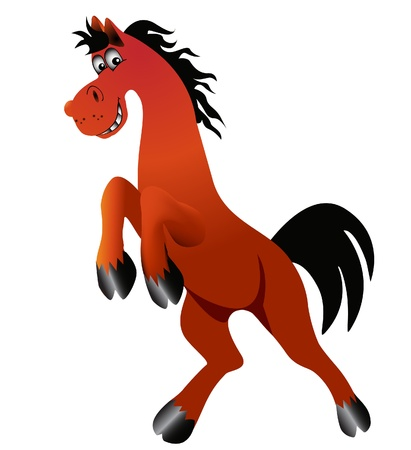 illustration amusing horse is insulated on white background Vector
