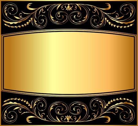 金: 黒にゴールドのイラスト背景パターン
