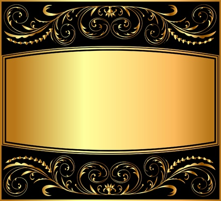 black picture frame: illustration background pattern gold on black