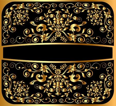 baroque picture frame: illustration background pattern gold on black