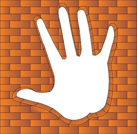 illustration hand has bent in brick Stock Vector - 9917647