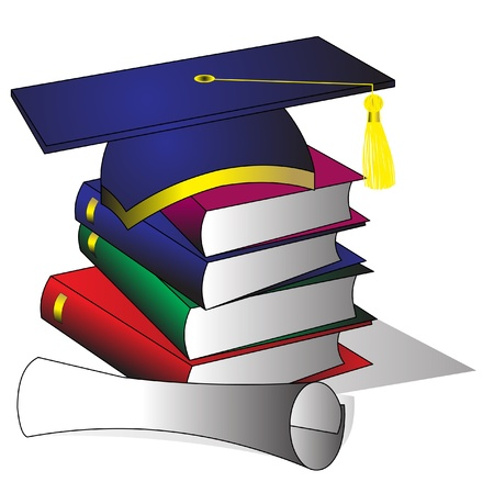 history books: illustration formation hat of the book and diploma on white Illustration