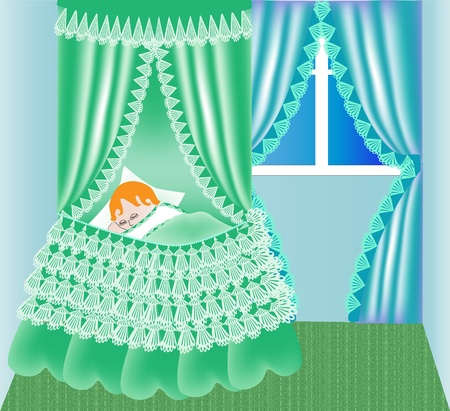 baby goods: illustration child in cribs sleeps on background window
