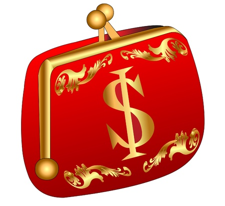illustration red purse with gold(en) dollar Stock Vector - 9917638