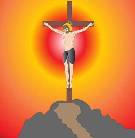 illustration god on cross on background of the sundown Vector