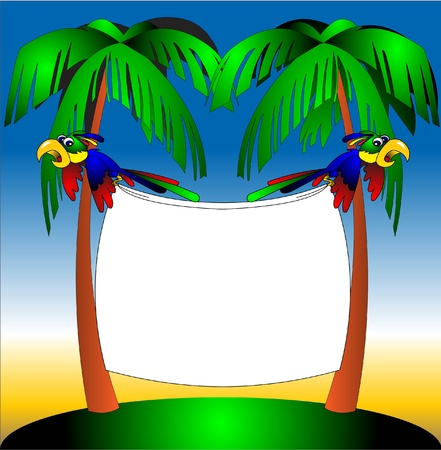 keeps: illustration two parrots on background of the palm keeps paper