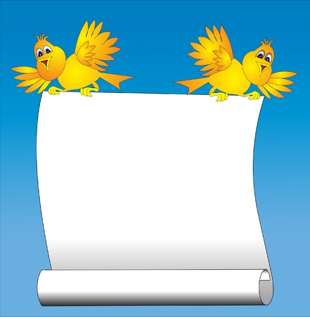 illustration two amusing birds keeps paper for message Stock Vector - 9917635