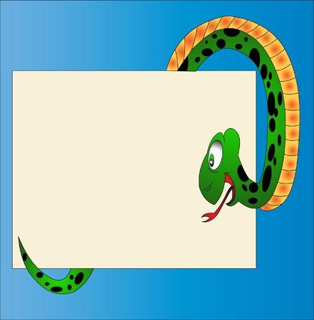 illustration amusing snake reads message on paper Stock Vector - 9917597
