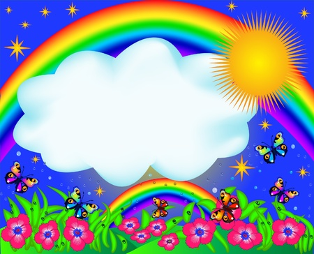 illustration field with colour butterfly and rainbow