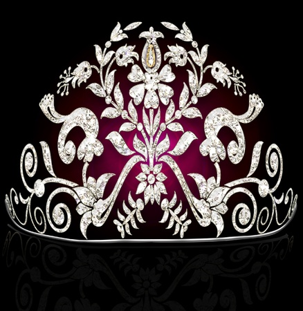 illustration feminine wedding diadem on black illustration