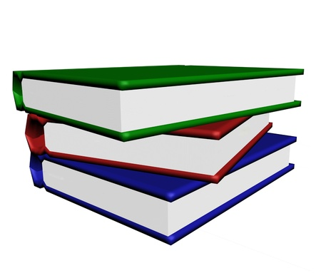 purely: The Pile of the varicoloured books on white background.