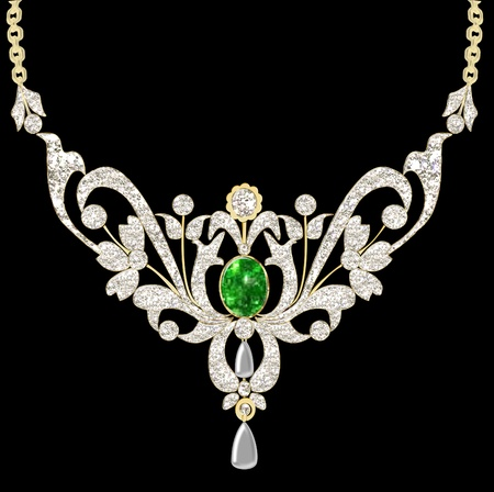 beads:  illustration wedding pendant necklace on chain on black background