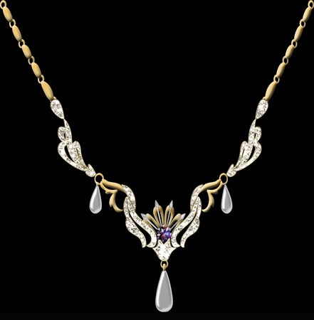 illustration wedding pendant necklace on chain on black background illustration
